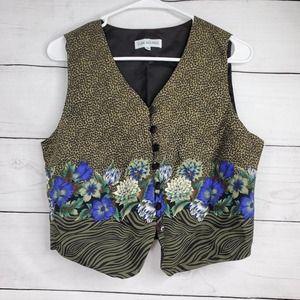 Vintage Button Front Animal Floral Vest
